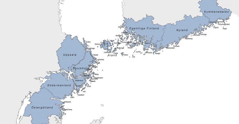 Karta Nordiska Skärgårdssamarbetet 2019
